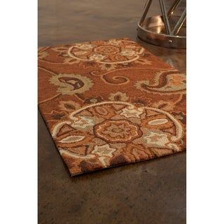 Hand-hooked Charlotte Light Brown Rug (2'3 x 3'9)
