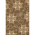 Hand-hooked Charlotte Light Brown Rug (5' x 7'6)