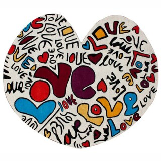 nuLOOM Handmade Kids Heart Shape Love Multi Wool Rug (6' x 6'7)