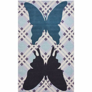 nuLOOM Handmade Kids Butterfly Light Blue Wool Rug