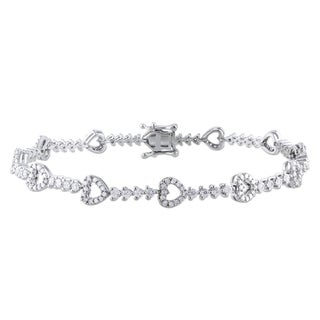 Miadora 10k Gold 3/4ct TDW Diamond and Sapphire Bracelet (G-H, I1-I2)