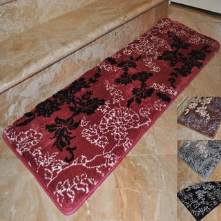 Fashion Street Floral Memory Foam Extra Long Bath Rug