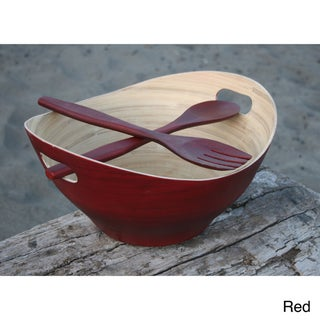 Large Eco-Friendly Bamboo Bowl and Server Set (Vietnam)