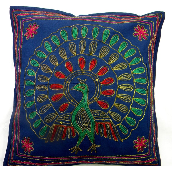 Handmade Multi Colored Peacock Cushion Cover (India)