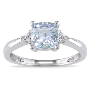 Miadora 10k White Gold Aquamarine and Diamond Accent Ring