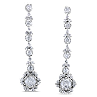 Miadora 18k White Gold 3 1/2ct TDW Diamond Earrings (G-H, SI1-SI2)