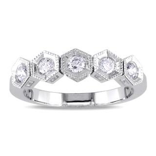 Miadora 18k White Gold 1/3ct TDW Diamond 5-stone Ring (H-I, SI2)