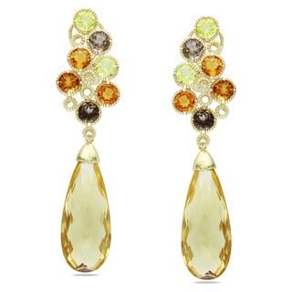 Miadora 14k Yellow Gold Citrine and Quartz Dangle Earrings