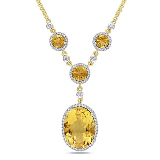 Miadora 14k Gold Citrine and 1/2ct TDW Diamond Necklace (G-H, SI1-SI2)