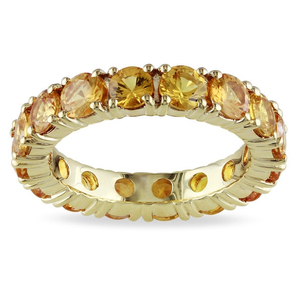 Miadora 14k Yellow Gold Yellow Sapphire Eternity Ring