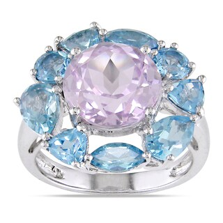 Miadora 14k White Gold Kunzite and Blue Topaz Cocktail Ring