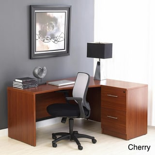 Crescent Right Desk with Desk High File Cabinet
