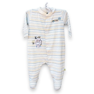 Organically Grown® Infant 'L is for Lion' Striped Organic Cotton Coveralls