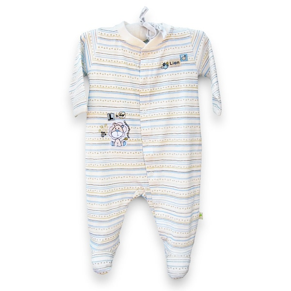 Organically Grown Infant 'L is for Lion' Striped Organic Cotton Coveralls