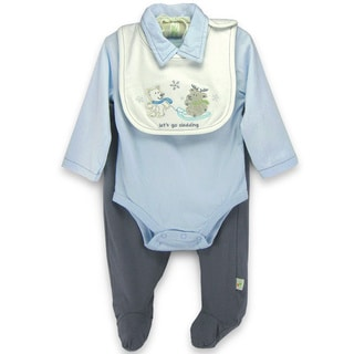 Boy's 'Let's Go Sledding' Organic Cotton 2-piece Set with Bib