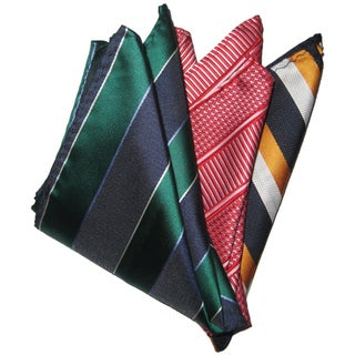 Dmitry Men's Silk Green/Red/Orange Pocket Squares (Pack of Three)
