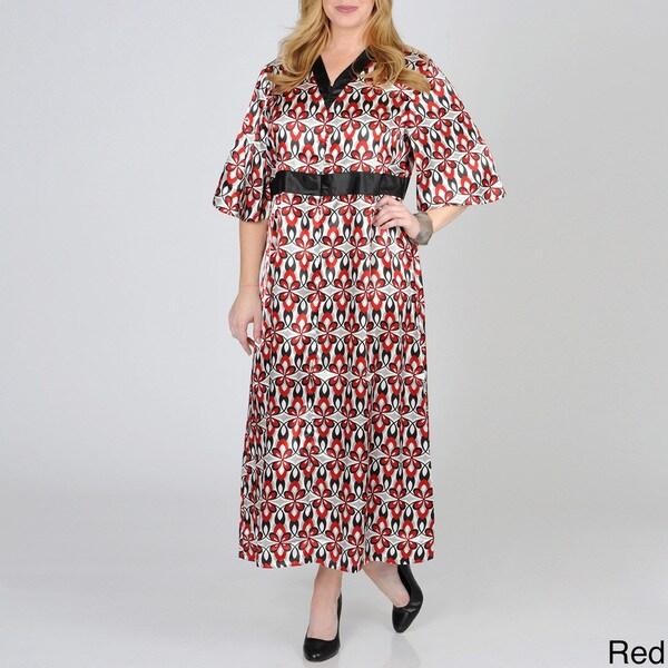 La Cera Women's Plus Size Floral Satin Lounge Dress