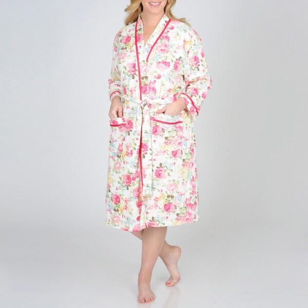 La Cera Women's Plus Size Floral Printed Wrap Robe