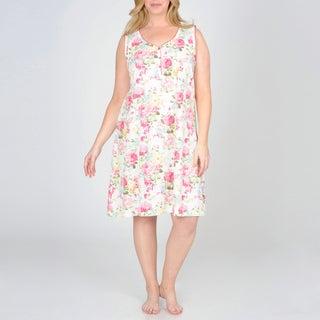 La Cera Women's Plus Size Floral Printed Chemise