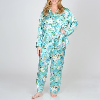La Cera Women's Plus Teal Floral Pajama Set