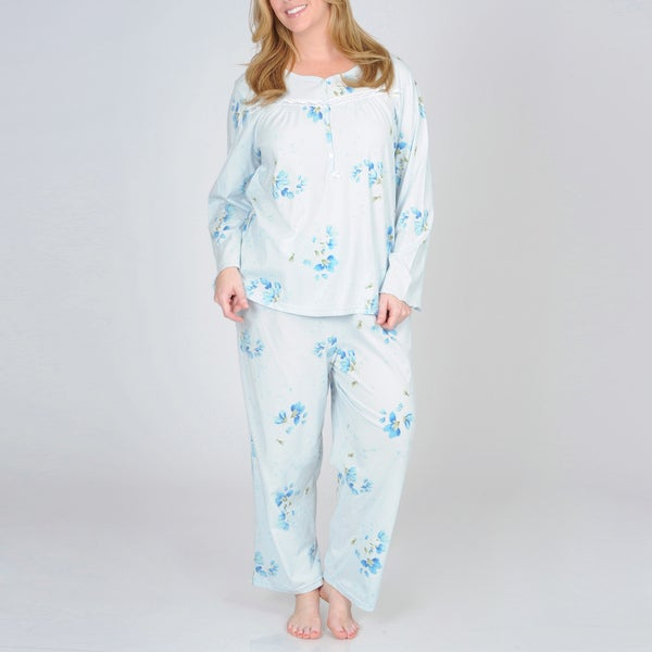 La Cera Women's Plus Size Blue Floral Knit Pajama Set
