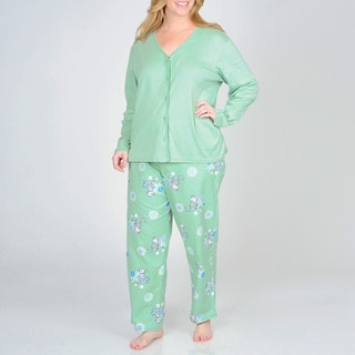 La Cera Women's Plus Kitty Pajama Set