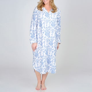 La Cera Women's Plus Size Floral Print Flannel Nightgown