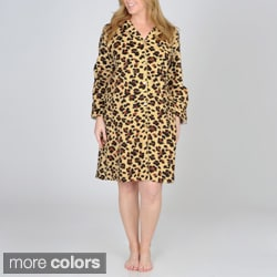 La Cera Women's Plus Size Cheetah Print Flannel Night Shirt