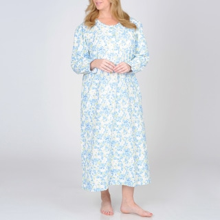 La Cera Women's Plus Size Mint Flannel Floral Print Nightgown