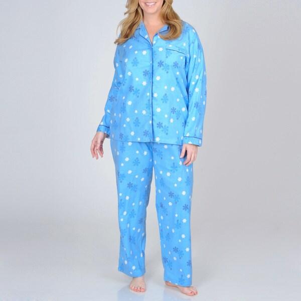 La Cera Women's Plus Size Blue Snowflake Print Cotton Pajama Set