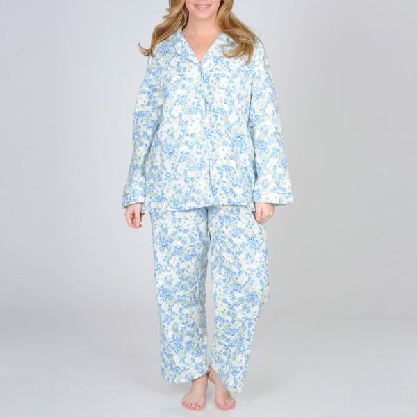 La Cera Women's Plus Size Mint Floral Print Cotton Pajama Set