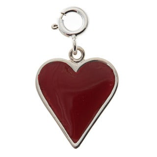 Sterling Silver Red Enamel Heart Charm