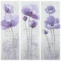 Safavieh Works of Art Purple Poppy 3-piece Canvas Art