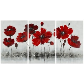 Safavieh Works of Art Red Poppy 3-piece Canvas Art