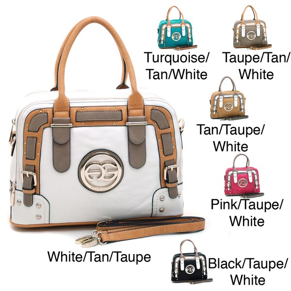 Anais Gvani Colorblocked Logo Satchel with Belted Accents