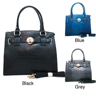Anais Gvani Croc-embossed Belted Tote Bag