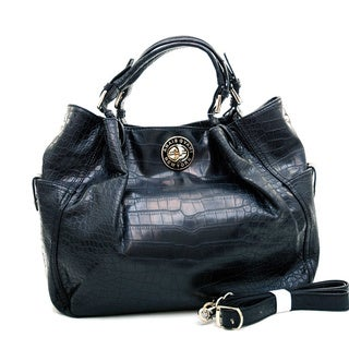 Anais Gvani Scrunched Croc-embossed Tote Bag