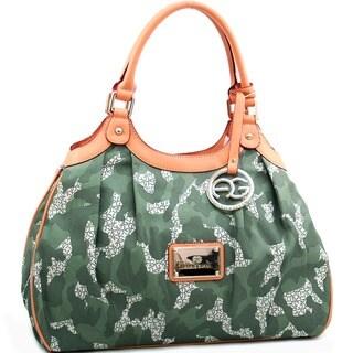 Anais Gvani Camouflage Shoulder Bag with Logo Charm