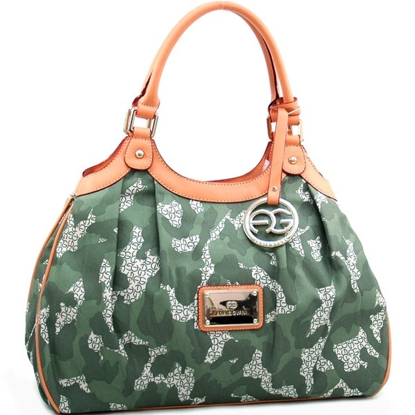 Anais Gvani Camouflage Shoulder Bag with Logo Charm