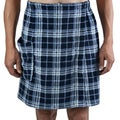 Leisureland Men's Navy Plaid Plush Fleece Spa Wrap