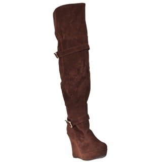 Riverberry Women's 'Charli' Tobacco Over-the-knee Platform Boots