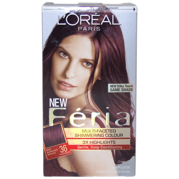 L'Oreal Feria Multi-Faceted Shimmering Color 3X Highlights#36 Deep Burgundy Brown Warmer 1 Application Hair