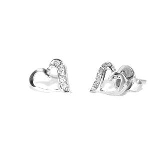 10k White Gold Children's Diamond Accent Heart Earrings (H-I, I1-I2)