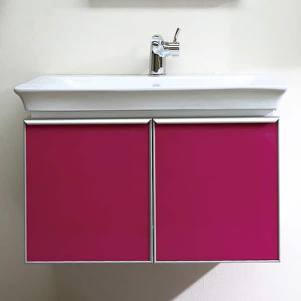 Bellaterra Home 30-inch Freesia Pink Single Bathroom Wood Vanity with Mirror