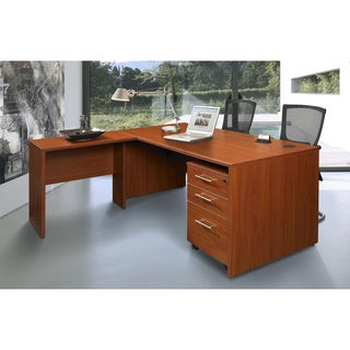 J & K Work Desk with Side Table and Mobile Pedestal