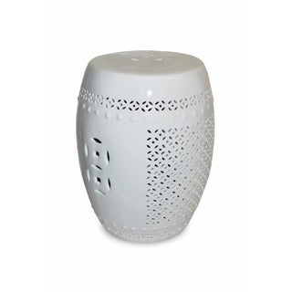 Pierced White Porcelain Garden Stool