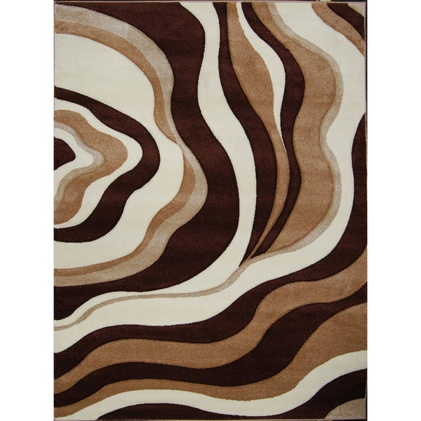 New Waves Brown Abstract Rug