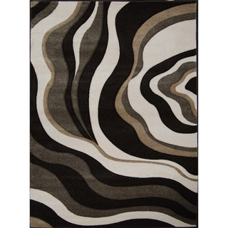 New Waves Dark Brown Onyx Abstract Rug