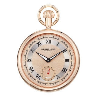 Stuhrling Original Men's Montres de Poche Colmar Rose-Tone Mechanical Pocket Watch