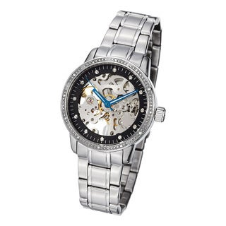 Stuhrling Original Women's Lady Delphi Black-Dial Automatic Crystal Bracelet Watch